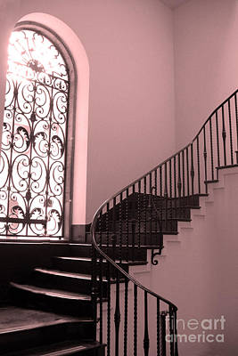 Surreal Pink And Black Stairs - Architectural Staircase Window And Stairs Art Print by Kathy Fornal