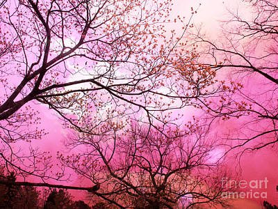 Surreal Fantasy Pink Sky And Trees Nature  Art Print by Kathy Fornal