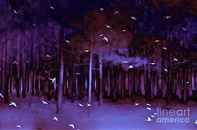 Blue Abstracts Photograph - Surreal Fantasy Purple Woodlands With Birds by Kathy Fornal