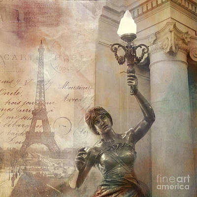French Script Photograph - Paris Eiffel Tower Surreal Art Deco With Female Statue Street Lantern Montage  by Kathy Fornal