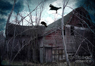 Vintage Barns Photograph - Surreal Gothic Old Barn With Ravens Crows  by Kathy Fornal