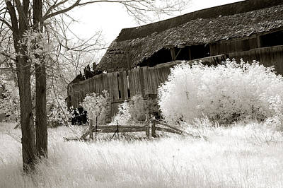 Surreal Infrared Sepia Michigan Barn Nature Scene Print by Kathy Fornal