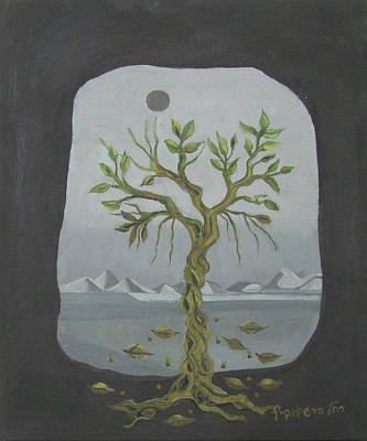 Painting - Surreal Landscape Framed  With Tree Falling Leaves Moon Mountain Sky   by Rachel Hershkovitz