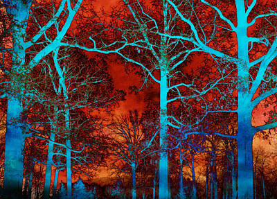 Surreal Orange Sky With Blue Trees Landscape Art Print by Kathy Fornal
