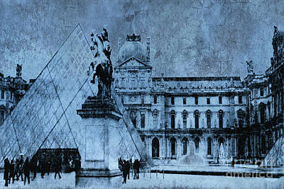 Surreal Paris In Blue - Musee Du Louvre Pyramid Print by Kathy Fornal