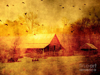 Surreal Landscape Photograph - Surreal Red Yellow Barn With Ravens Landscape by Kathy Fornal