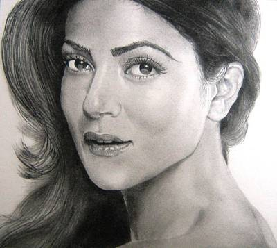 Drawing - Sushmita Sen by Mickey Raina