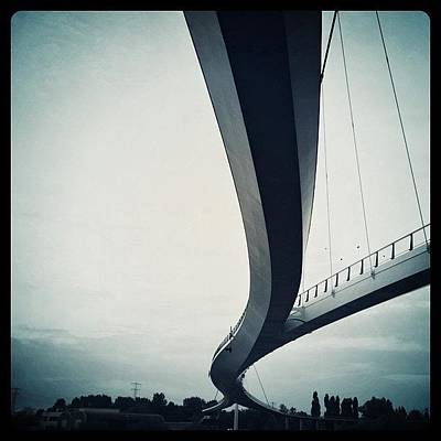 Line Wall Art - Photograph - Suspended #bridge For Cylists And by Robbert Ter Weijden