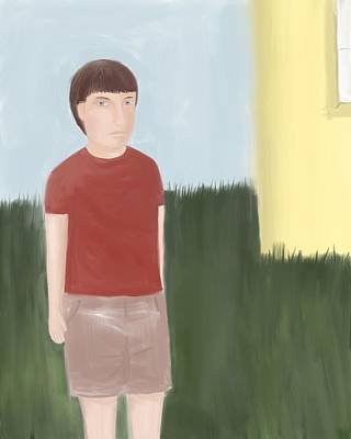 Suspicous Boy In Red Shirt Art Print by Sarah Countiss