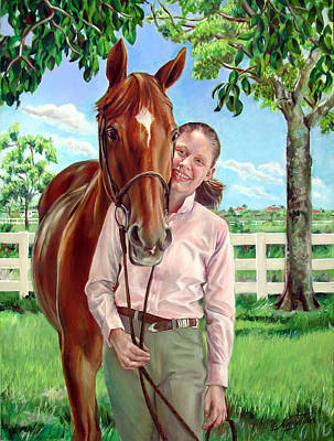 Painting - Suzanne With Her Horse by Nancy Tilles