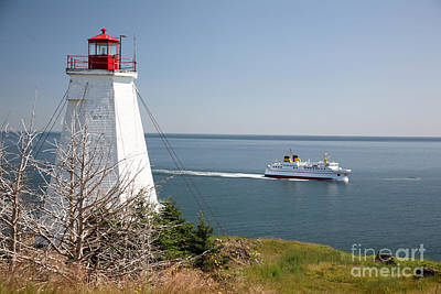 Swallowtail Lighthouse And Ferry Art Print by Ted Kinsman
