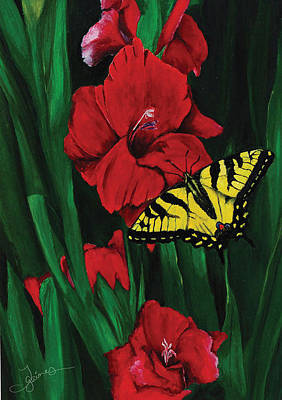 Gladiolas Drawing - Swallowtail by Trish Gaines