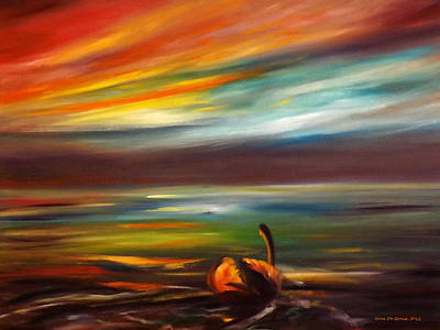 Painting - Swan At Sunset by Gina De Gorna