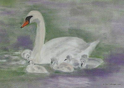 Pastel - Swan Family by Calliope Thomas