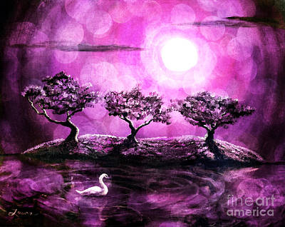 Digital Art - Swan In A Magical Lake by Laura Iverson