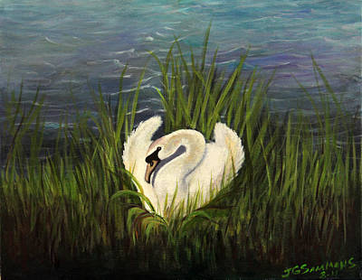 Swan Nesting Art Print by Janet Greer Sammons