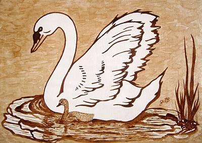 Coffee Painting - Swan With Chick Original Coffee Painting by Georgeta  Blanaru