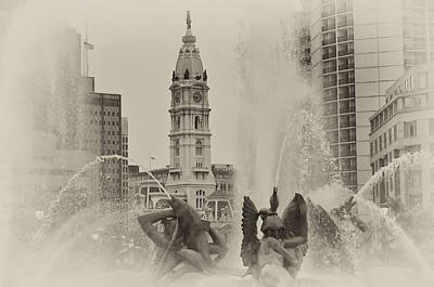Benjamin Franklin Parkway Digital Art - Swann Memorial Fountain In Sepia by Bill Cannon