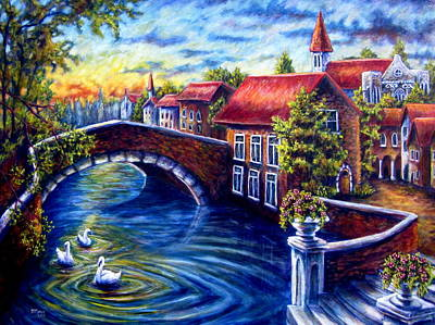 Painting - Swans In Venice by Sebastian Pierre
