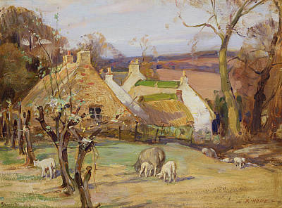 Spring House Painting - Swanston Farm by Robert Hope