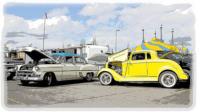 Swap Meet Plymouth And Chevy  Art Print by Steve McKinzie