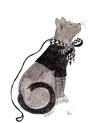 Art Print featuring the drawing Sweater Cat Named Blue by Lou Belcher