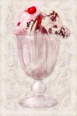 Sweet - Ice Cream - Ice Cream Sundae Art Print by Mike Savad
