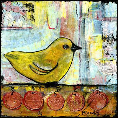 Green Mixed Media Painting - Sweet Green Bird by Blenda Studio