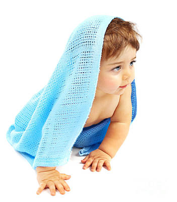 Naked Kids Photograph - Sweet Little Baby Boy Covered Blue Towel by Anna Om