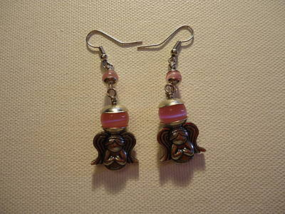 Sweet Pink Angel Earrings Art Print by Jenna Green