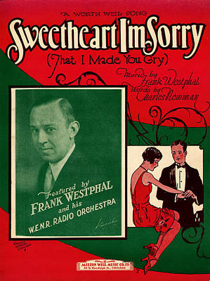 Old Sheet Music Photograph - Sweetheart I'm Sorry by Mel Thompson
