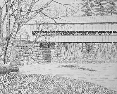 Snowscape Drawing - Swift River Bridge by Tim Murray