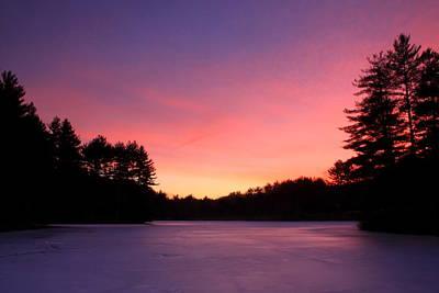 Quabbin Reservoir Photograph - Swift River Connors Pond Winter Sunset by John Burk