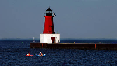 Photograph - Swimmers At The Lighthouse by Ms Judi