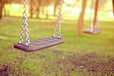 Swings In Park Print by Rob Webb