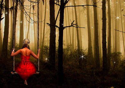 Girl Digital Art - Swingtime by Julie L Hoddinott