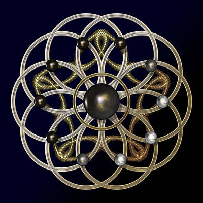 Meditative Digital Art - Swirly Brooch by Hakon Soreide
