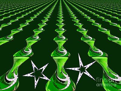 Swirly Green Links Art Print by Jeannie Atwater Jordan Allen