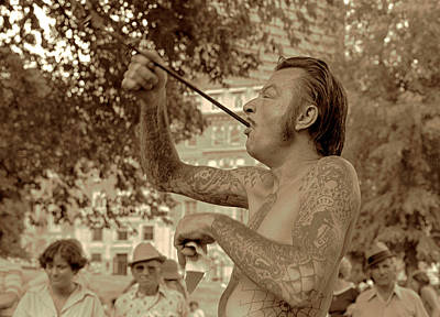 Art Print featuring the photograph Sword Swallower by Tom Wurl