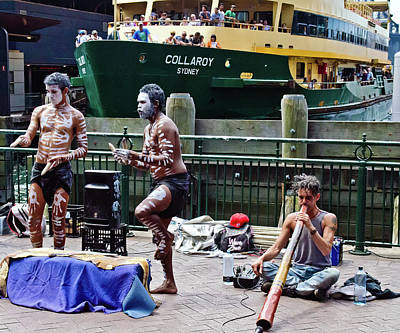 Photograph - Sydney Harbor Aborigine Street Performers by Harry Strharsky