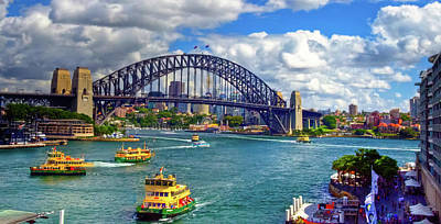 Photograph - Sydney Harbor Bridge And Ferry Boats by Harry Strharsky