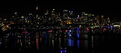 Photograph - Sydney Harbor New Year Night Lights by Harry Strharsky