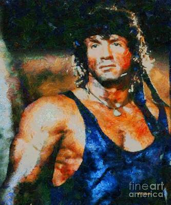 Stallone Painting - Sylvester Stallone First Blood by Elizabeth Coats