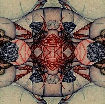 Didgital Art Photograph - Symetry Expressed In Blue  And Red by Jack Dillhunt