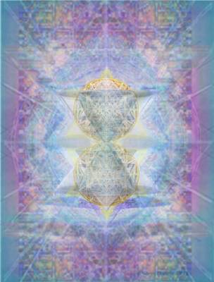 Synthecentered Doublestar Chalice In Blueaurayed Multivortexes On Tapestry Art Print