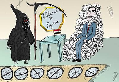 Syria Welcomes Death Cartoon Original by Yasha Harari