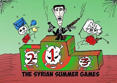 Syrian Summer Games Cartoon Original by Yasha Harari