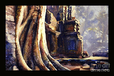 Painting - Ta Prohm Khmer Temple In Cambodia by Ryan Fox