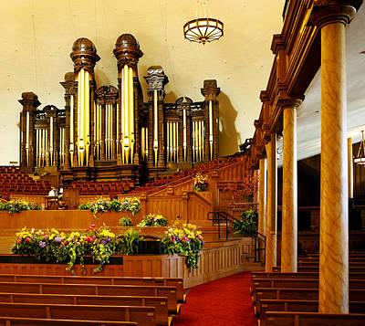 Church Pillars Photograph - Tabernacle Pipe Organ by Marilyn Hunt