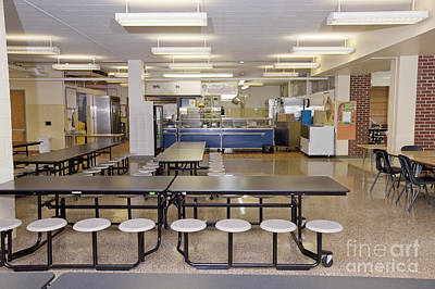 Table And Seats In A School Cafeteria Art Print